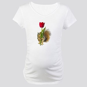 Squirrel Red Tulip Maternity T-Shirt