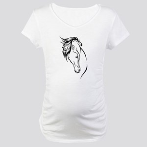 Line Drawn Horse Head Maternity T-Shirt