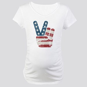Peace Sign USA Vintage Maternity T-Shirt