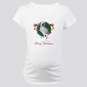 african grey christmas Maternity T-Shirt