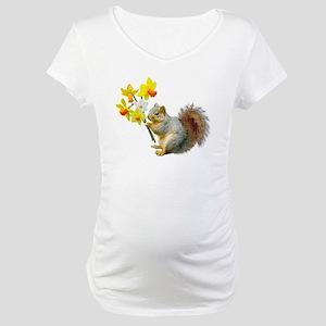 Squirrel Daffodils Maternity T-Shirt