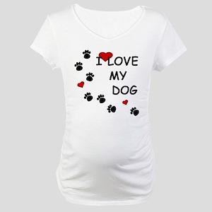 I Love my Dog Paw Prints Maternity T-Shirt