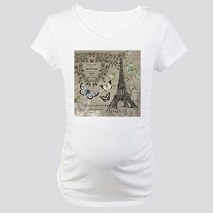 Vintage French Eiffel Tower Maternity T-Shirt
