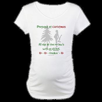 44c0e8c535781 Funny, snarky pregnant at Christmas Shirt > Pregnant at inlaws no ...
