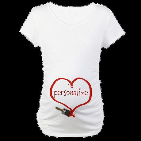 Customizable Painted Heart Maternity T-Shirt