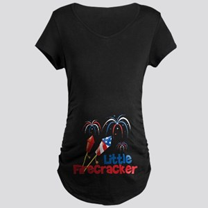 4th of July Little Firecracker Maternity Dark T-Sh