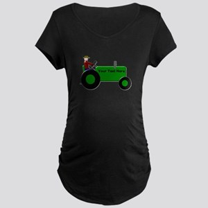 Personalized Green Tractor Maternity Dark T-Shirt