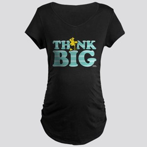 Woodstock-Think Big Maternity Dark T-Shirt
