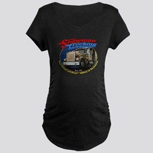 Snowman Trucking Maternity Dark T-Shirt