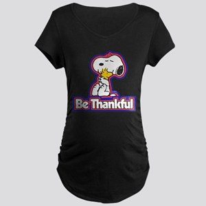 Peanuts Be Thankful Maternity Dark T-Shirt