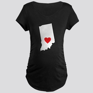I Heart Indiana State Outline Maternity T-Shirt