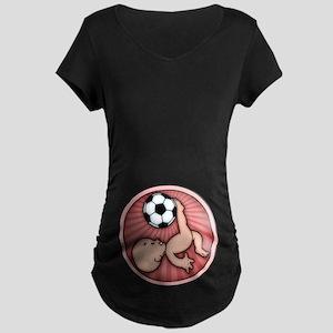 2206e3a16b3b7 Soccer Baby Kick Maternity Dark T-Shirt