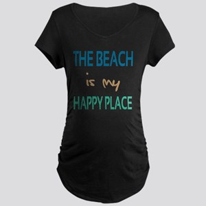 The Beach Is My Happy Place Maternity Dark T-Shirt