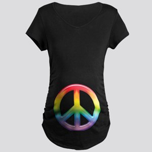 Gay Pride Rainbow Peace Symbol Maternity Dark T-Sh