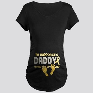 Supporting Daddy Every Kick o Maternity Dark T-Shi