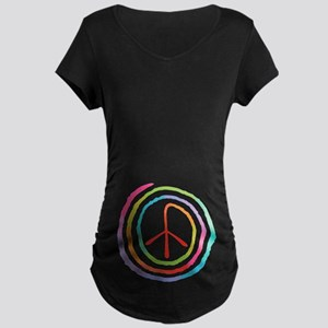 Neon Spiral Peace Sign II Maternity Dark T-Shirt