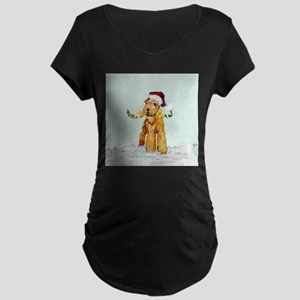 Winter Airedale Maternity Dark T-Shirt