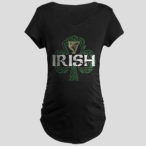 Irish Shamrock Erin Go Bragh Maternity Dark T-Shir