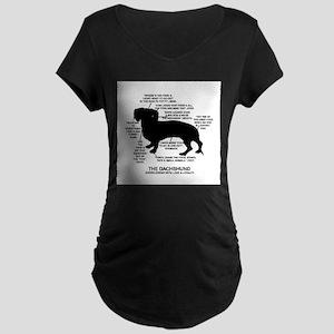 Dachshund Chart Maternity Dark T-Shirt