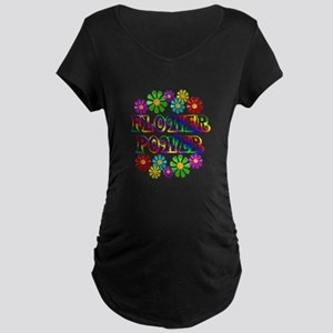 Flower Power Maternity Dark T-Shirt