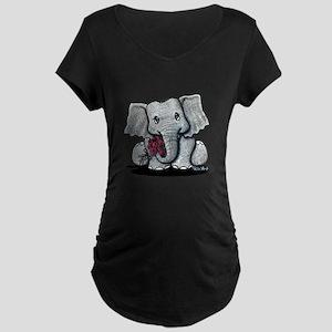 KiniArt Elephant Maternity Dark T-Shirt