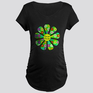 Cool Flower Power Maternity Dark T-Shirt