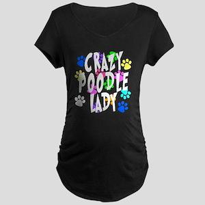 Crazy Poodle Lady Maternity Dark T-Shirt
