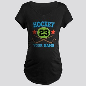 Personalized Hockey Player Number Maternity Dark T
