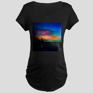 Sunrise Over The Sea And Lighthouse Maternity T-Sh