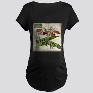 vintage orchid french botanical Maternity T-Shirt