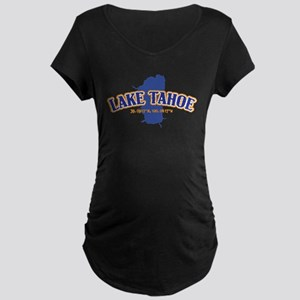Lake Tahoe with map coordinates Maternity T-Shirt