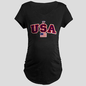 USA Flag Maternity Dark T-Shirt