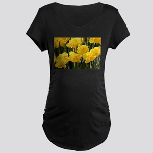 Daffodil flowers in bloo Maternity T-Shirt