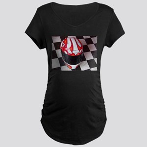 Race Helmet on Checkered Flag Maternity T-Shirt
