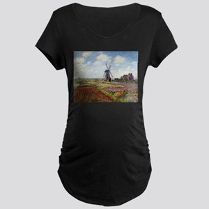 Monet Fields Of Tulip Maternity Dark T-Shirt