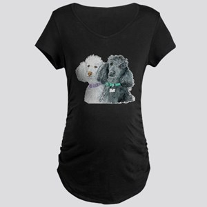 Two Poodles Maternity Dark T-Shirt