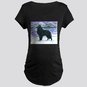 Belgian Sheepdog In Snow Maternity Dark T-Shirt