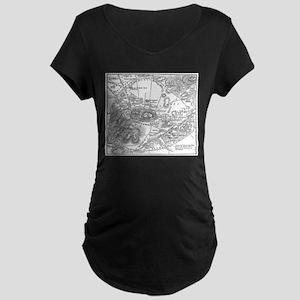 Ancient Athens Map Maternity Dark T-Shirt