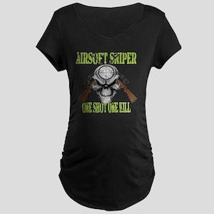 sniper skull Maternity Dark T-Shirt