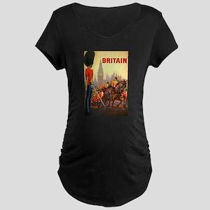 Vintage Travel Poster, Brit Maternity Dark T-Shirt