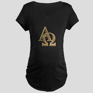 """3-D"" Golden Alpha and Omega Symbol Maternity Dark"