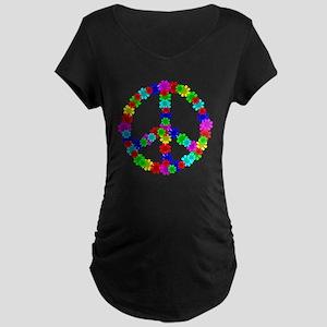 1960's Era Hippie Flower Pe Maternity Dark T-Shirt