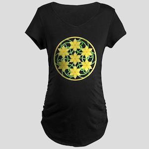 Daffodils Mandala Maternity Dark T-Shirt