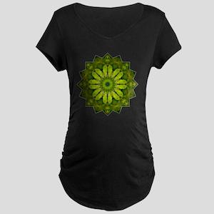 Green Flower Heart Chakra M Maternity Dark T-Shirt