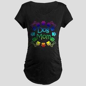 """Dog Mom"" Maternity Dark T-Shirt"