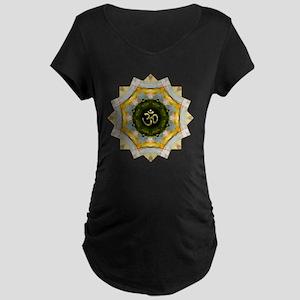Gold Green Yoga Om Mandala  Maternity Dark T-Shirt