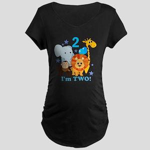 baby2JungleAnimals Maternity Dark T-Shirt