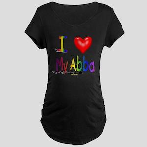 I Love My Abba flat Maternity Dark T-Shirt
