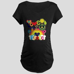 Love and Peace Maternity Dark T-Shirt