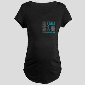 Teal Awareness Ribbon Custo Maternity Dark T-Shirt